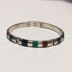 Jewelry - Heavy Cast Silver Bar Bracelet with Inlaid Stones